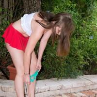 Eighteen first timer Charli Maverick unveiling lil' teener boobs and butt outdoors
