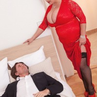 BIG SEXY WOMAN Nila Mason exposing uber-cute hooters before giving humungous rod handjob and oral jobs