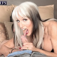 Humungous titted 60 plus MILF Sally D'Angelo jacks a prick in spandex boots and black corset