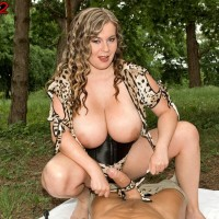 Thick Dominant Jana letting massive all-natural boobs free outdoors in the park