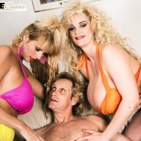 Famous adult video star Kimberly Kupps and gf bare huge funbags while sharing a rock hard prick