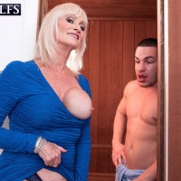 Wild 60 plus MILF Leah L'Amour tempts a younger boy in the sauna before providing a BLOWJOB