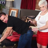 Nasty MILF on the other side of Sixty Jewel entices a junior man before tonguing his sausage