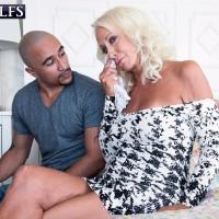 Wonderful Sixty plus MILF Madison Milstar tempts a junior black man in a taut fitting dress