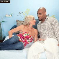 Killer old woman Payton Hall is stripped to thong underwear by her younger ebony lover