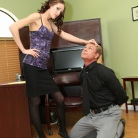 Spindly golden-haired authoritative type Haily Youthful forcing man to submit to her femdom dreams