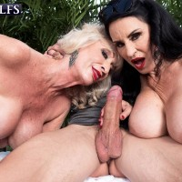 Aged dame Rita Daniels and her gf entice and blow off a junior boy