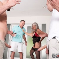 Experienced doll Silva Foxx gives TWO dudes fellatio in front of her cuckold spouse