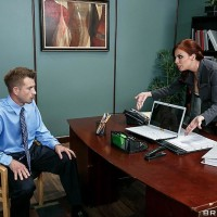 MILF XXX actress Britney Amber getting ass screwed outfitted hosiery on office place desk