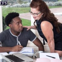 Over 60 woman Maria Fawndeli seduces a younger black stud while tutoring him