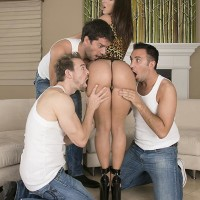 Top XXX video star Jada Stevens offers up her juicy backside for anal sex to three boys at once