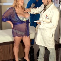 Insatiable blonde BIG HOT LADY Sunshine having big tits caressed by medic in check-up apartment