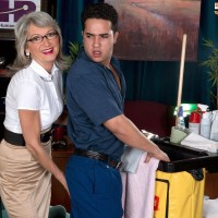 Experienced work place employee Cheyanne tempts the janitor in a mini-skirt and glasses