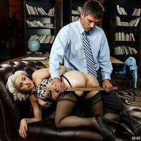 Platinum platinum-blonde adult film star Jenna Ivory delivering BJ before cornhole dildoing and screwing