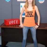 Legal year mature teen Rachel James showcases her professor her little funbags in denim jeans