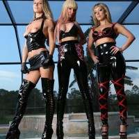 3 phat nymphs in latex outfits and high-heels debase masked masculine slave by pool