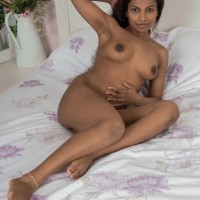 Shoeless ebony first-timer Alishaa Mae pulling out enormous juggs and hairy beaver from lingerie