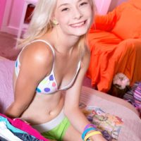 18 platinum-blonde teen Maddy Rose revealing petite melons from melon-holder in bedroom