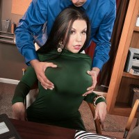 Massive boobed dark-haired MILF Sheridan Enjoy stripped nude by coworker in work place