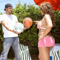 Black female Ayana Angel flaunts her monster-sized arse in a short mini-skirt while running in flows a basketball