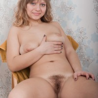 Blond first timer Jamaica exposing massive all natural breasts before opening up fur covered fuckbox