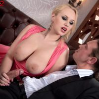 Yellow-haired babe Angel Wicky uncovering uber-cute dangling juggs during doggystyle sex