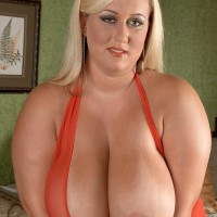 Fair-haired BIG SEXY LADY Rose Valentina whipping out hefty boobs from sundress after upskirt panty display
