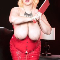 Blond BIG HOT LADY Samantha 38G looses giant hooters from crimson spandex dress in stilettos