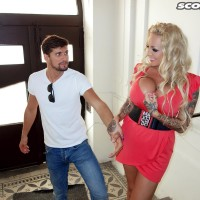 Sandy-haired hottie Bambi Blacks tempts a guy on a park bench in a short sundress
