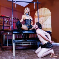 Blonde authoritative type Alexis Fawx face fucking her sissy spouse with strap on in latex boots