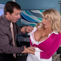 Light-haired MILF XXX vid star Amber Lynn Bach delivering breast boink after being stripped