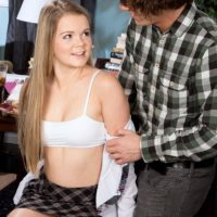 Blonde college girl Lexy gets stripped by her instructor before having Sixty-nine sex