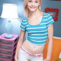 Yellow-haired spinner Maddy Rose uncovering small teenager knockers in white panties