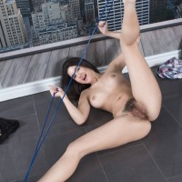 Dark haired first timer with immense natural nubile boobs and tempting legs opening up wooly cooch