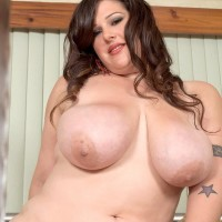 Brown-haired BIG SEXY LADY Angel Sin bj's on a sex toy and swell nips after peeling off super-sexy lingerie