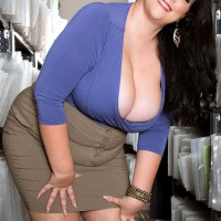 Brown-haired BIG HOT LADY Charlotte Angel de-robe nude for doggystyle banging by co-worker