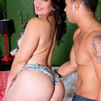Brown-haired girl Sabrina Santos pussy-smothering man on bed with her big white butt