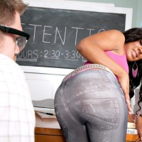 Black-haired chick Serenity Evans vaunting panty garmented gigantic ass in classroom