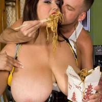Black-haired feeder Rikki Waters loosing big booty and titties before eating dick in stilettos