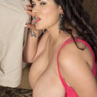 Brown-haired Latina fatty Haydee Rodriguez uncovering huge hooters from sundress