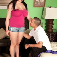 Black-haired MILF Beverly Paige pulling out ultra-cute knockers for her personal trainer
