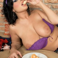 Black-haired MILF Ivy Darmon sets her monster-sized all-natural fun bags loose in solo action