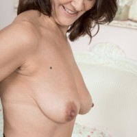 Brunette MILF Kaysy whipping out tiny fun bags and wide open cooch from marvelous lingerie
