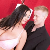 Brunette chubber Nila Mason enjoyments her man mate with her funbags