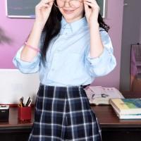 Dark haired schoolgirl Karly Baker having seductive teener ass slapped in knee socks
