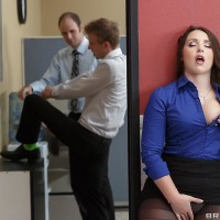 Brunette assistant Lola Foxx taking backside boinking in work place after delivering enormous penis fellatio