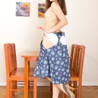 Brunette nubile Tara doing away with sundress to model undressed to the midbody in white cotton panties