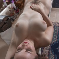 Huge-titted amateur Kelly Morgan uncovering fur covered cooch for labia lips spreading