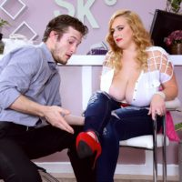 Big-titted blond BIG SEXY WOMAN Mya Blair draining and fellating dick in torn blue denim jeans