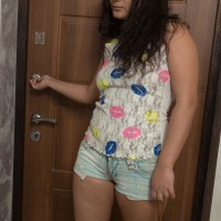 Bosomy dark-haired first timer Ericka Fly opening up hairy cooter after flaunting furry armpits